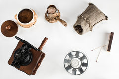 Coffee making and drinking accessories on the table Stock Image