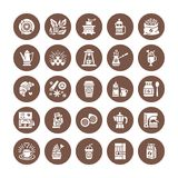 Coffee making equipment flat glyph icons. Elements - moka pot french press, grinder, espresso, vending, plant, croissant. Restaurant, shop pictogram. Solid Royalty Free Stock Photo
