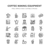 Coffee making equipment flat line icons. Elements - moka pot, french press, grinder, espresso, vending, plant. Linear Stock Images