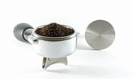 Coffee making. Coffee equipment for making coffee from grind coffee powder Stock Image