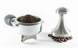 Coffee making. Coffee equipment for making coffee from grind coffee powder Stock Photography