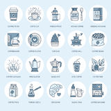 Coffee making equipment vector line icons. Tools - moka pot, french press, coffee grinder, espresso, vending, plant Royalty Free Stock Photos