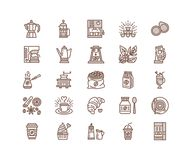 Coffee making equipment vector line icons. Tools - moka  Royalty Free Stock Photos