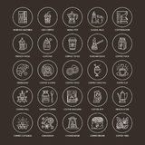 Coffee making equipment vector line icons. Tools. Moka pot, french press, coffee grinder, espresso, vending, plant. Linear restaurant, shop pictogram with Stock Photography
