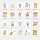 Coffee making equipment vector line icons. Tools - moka pot, french press, coffee grinder, espresso, vending, plant. Linear restaurant, shop pictogram with Stock Photo