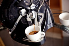 Coffee making with espresso machine Royalty Free Stock Image