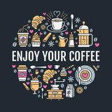 Coffee making poster template. Brewing vector line icon,. Circle illustration for menu. Elements - coffeemaker, french press, coffee grinder, espresso Stock Photos