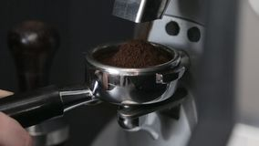 Coffee making process espresso cup and coffee machine bartender make morning espresso stock footage