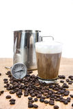 Coffee making tools. The thermometer for coffee, coffee cups and Royalty Free Stock Photos