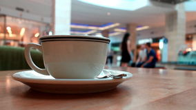 Coffee in mall stock video footage