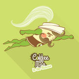 Coffee man character flying to the rescue Royalty Free Stock Image