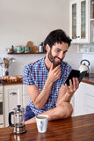 Coffee man kitchen Stock Image