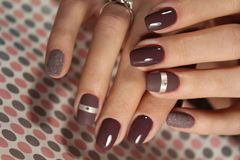 Coffee manicure design stock photo
