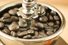 Coffee with manul grinder Royalty Free Stock Photos