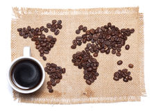 Coffee map on hessian background Royalty Free Stock Photo