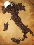 Coffee Map Italy. And Cup Royalty Free Stock Photos