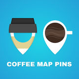Coffee map pins concept. Vector flat illustration logo design. coffee cup Royalty Free Stock Photos