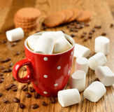 Coffee with marshmallows Stock Images