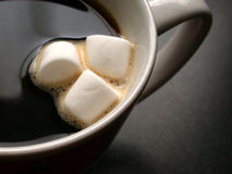 Coffee and Marshmallows. Something different. A close up cup of coffee with marshmallows on top. Great for food and drink ideas, expression of individuality Stock Photos