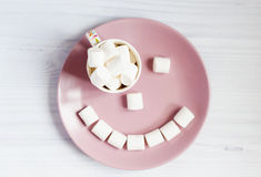 Coffee and marshmallows for breakfast Royalty Free Stock Image