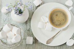Coffee and marshmallows Royalty Free Stock Photo