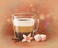 Coffee with marshmallows stock image