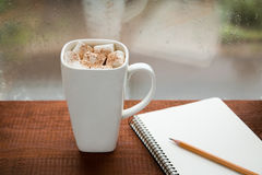 Coffee with marshmallows and a notebook. On the window Stock Photos
