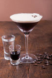 Coffee Martini cocktail. On wooden background Royalty Free Stock Image