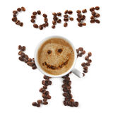 Coffee mascot of cup and beans Stock Image