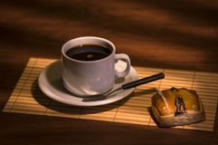 Coffee and masses. Hot coffee breakfast with masses Royalty Free Stock Image