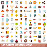 100 coffee mastery icons set, flat style Royalty Free Stock Photo