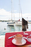 Coffee at Mediterranean harbour Royalty Free Stock Photography