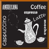 Coffee menu. Coffee sketch - coffee pot and two cups Royalty Free Stock Photo