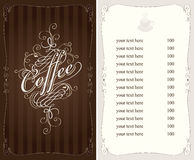 Coffee menu. In Baroque style Stock Photos