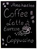 Coffee menu on black background, vintage style stylized drawning with chalk on blackboard. Stock Photos