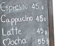 Coffee menu on blackboard Royalty Free Stock Photography