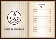 Menu design with Coffee  shop logo. Coffee  Menu. Menu of Cafe.  Brochure template for restaurant. Vector image Stock Photography