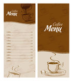 Coffee menu card for different types of coffee. Coffee menus, menu design with a ready list intended for Stock Photo