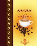 Coffee menu card. Coffee menu card in yellow and brown Royalty Free Stock Photos