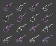 Coffee Menu on Chalkboard - coffee types royalty free illustration