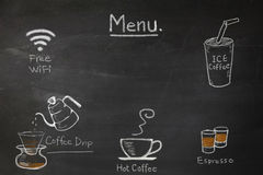 Coffee menu on the chalkboard write by hand for coffee shop or cafe. Stock Image