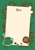 Coffee menu with cup, sugar and sheet of paper Royalty Free Stock Photography
