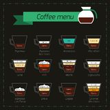 Coffee menu decorative icons Royalty Free Stock Images