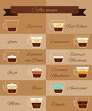Coffee menu decorative icons Royalty Free Stock Photos