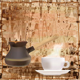 Coffee menu design with coffee pot and cup Stock Images