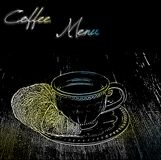 Coffee menu design with a cup Stock Photography
