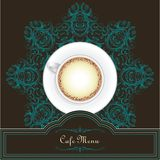 Coffee menu design with a cup and mandala Royalty Free Stock Photo