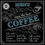 Coffee menu design typography with a cup and Royalty Free Stock Images