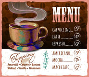 Coffee menu design in vintage style for cafe stock illustration