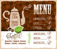 Coffee menu design in vintage style for cafe Stock Images
